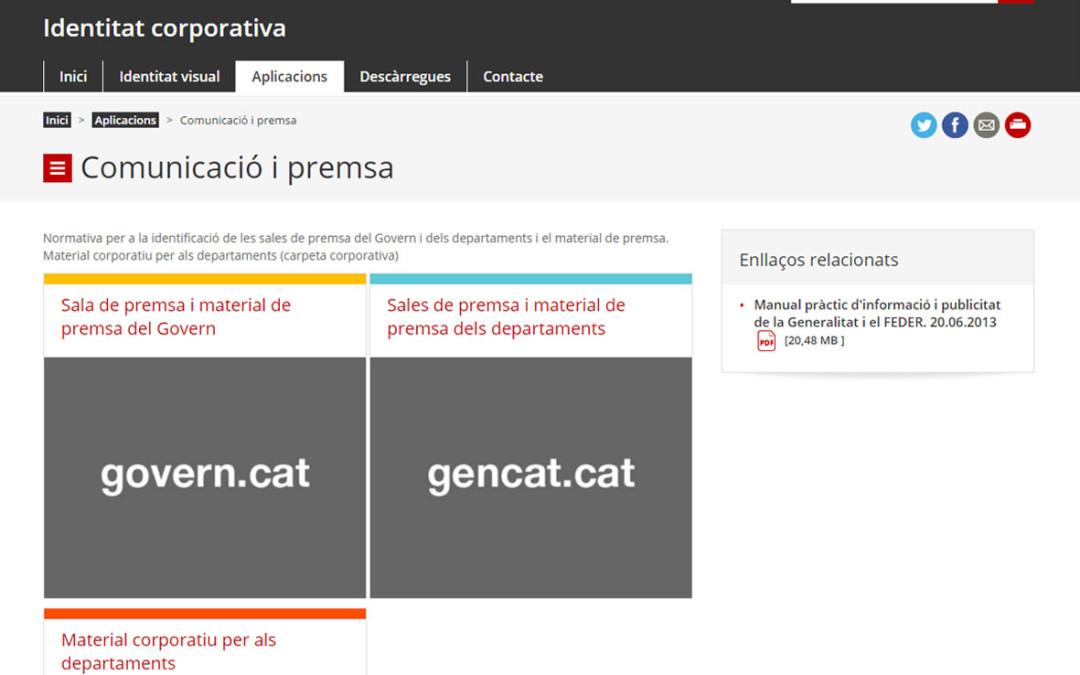Actualització del nou apartat de comunicació i premsa del web del Programa d'Identificació Visual de la Generalitat de Catalunya